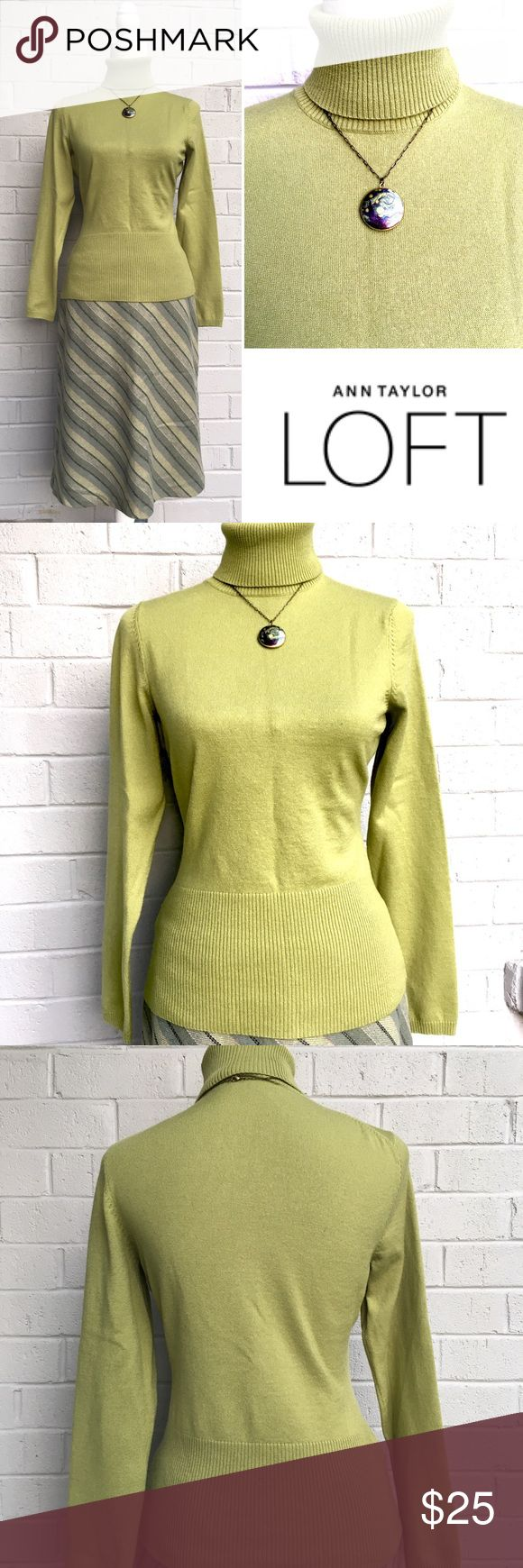 LOFT Olive Turtle Neck Wool Size M Gently used. In excellent condition. No signs of wear.  True to size M. Olive green. I love this color! Material is wool nylon mix. Pls see tags on the photos for material details. The mannequin the sweater is on is size S/M. Please feel free to ask if you have any more questions. Comes form a clean, smoke free home. I also posted the gap wool skirt, and the necklace. If you are size 8 on the bottom get the full outfit and save $$. LOFT Sweaters Cowl…