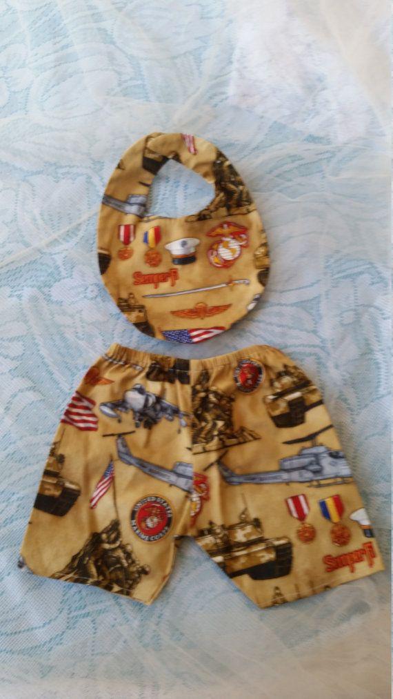 Marine Corps USMC Baby Set Shorts and Bib Unisex 3-6 Months