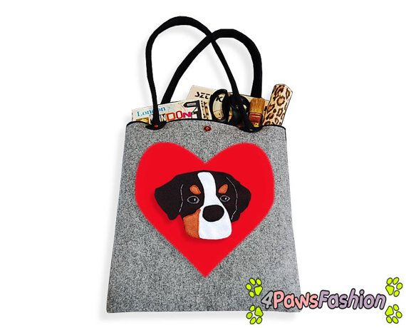 Bernese Mountain Dog Felt Tote. Handmade Shoulder Bag. Long Handles. Dog Design. Everyday use. 4PawsFashion