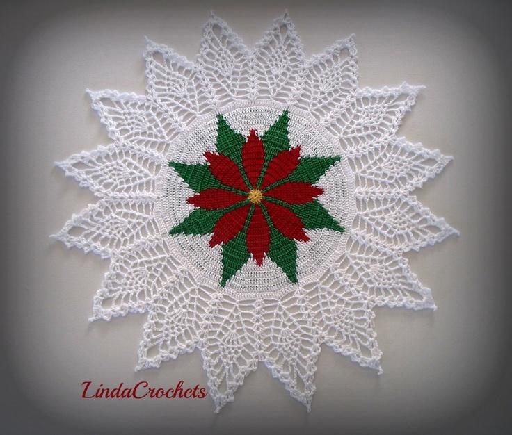 """Linda Crochets:  """"Poinsettia Doily Tapestry"""""""