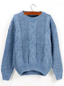 Blue Round Neck Chunky Cable Knit Sweater