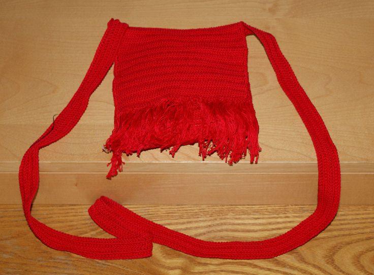 Original Hippie Cotton Shoulder Bag Red Color Handmade Borsa Piccola Lunga Tracolla Artigianale Cotone Rosso Frange Anni 90' Hippy Boho di BeHappieWorld su Etsy