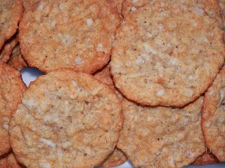 Crispy Oatmeal Coconut Cookies  1 cup quick cooking oats 1 cup flour 1 cup sugar 3/4 cup flaked coconut 1/8 tsp salt 1/2 cup dairy free marg...