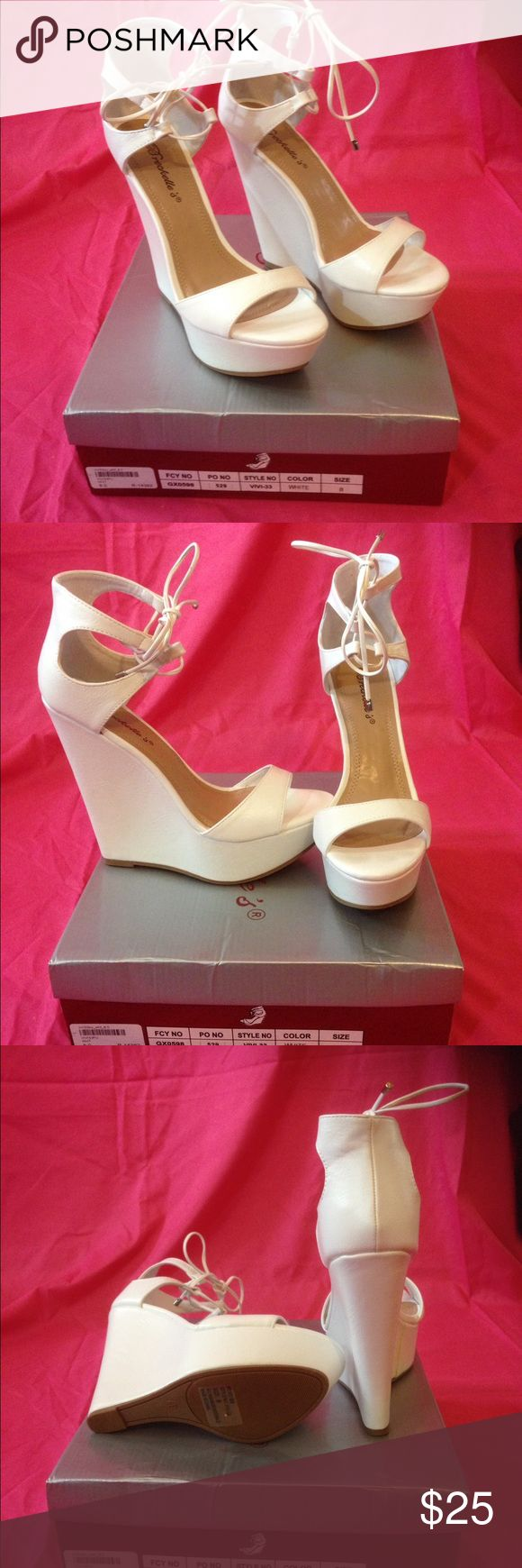 Breckelle's White Wedge Brand New with Box! Brand new, never worn! Breckelle's white wedge heels! Shoes Wedges
