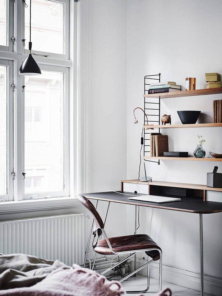 living room home office workspace. Black, White And Vintage - Via Coco Lapine Design Living Room Home Office Workspace