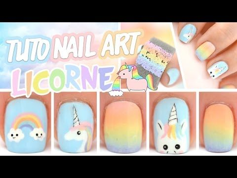 Nail art Licorne ♡ - YouTube