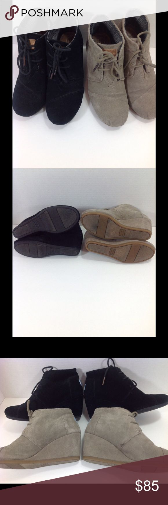 Toms Desert Wedges tan & black size 7 gently used Toms Desert Wedges tan & black size 7 gently used comes from a non smoking, immaculate home TOMS Shoes Ankle Boots & Booties
