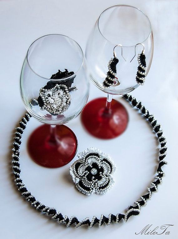 Crochet Beaded Jewelry Set Necklace Brooch Earrings Lace by MileTa