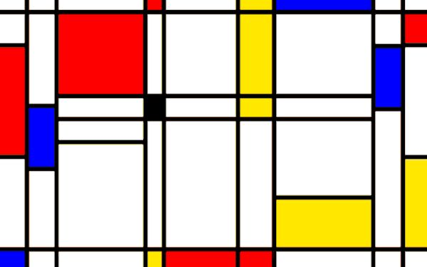 A Playable Version of Pong Set Inside a Piet Mondrian Painting