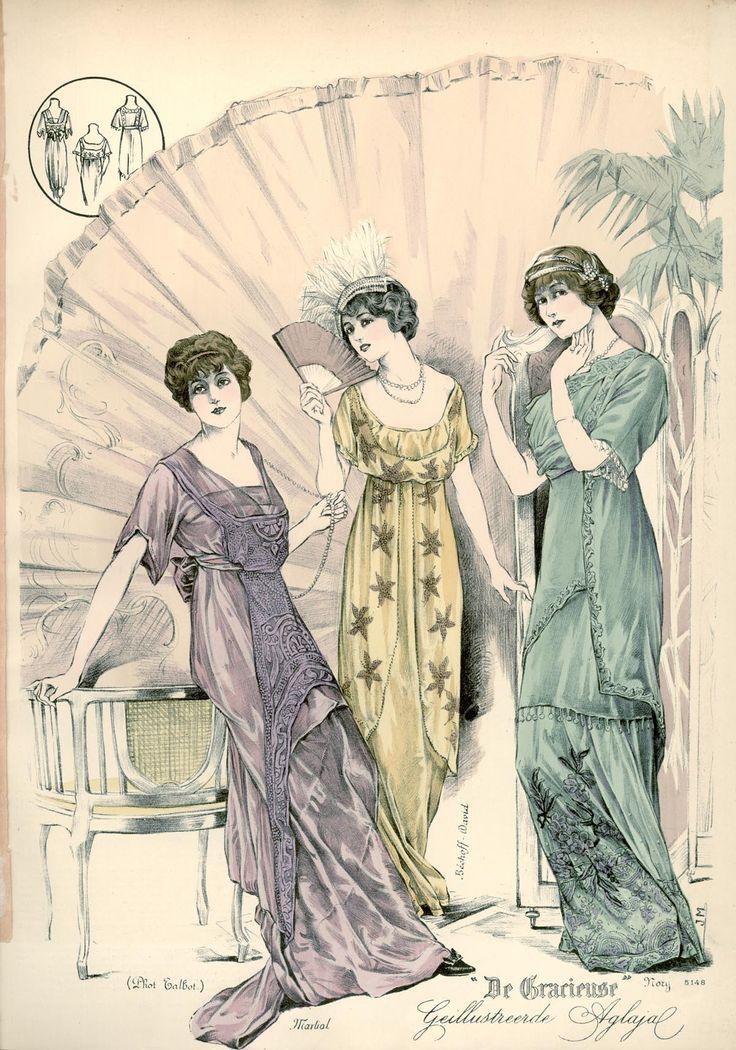 [De Gracieuse] No. 1. Elegante avondjapon. No. 2. Avondjapon voor jong meisje of zeer jonggehuwde. No. 3. Zeer elegante japon voor reunie (January 1913)
