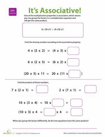 Worksheets: Properties of Multiplication: Associative