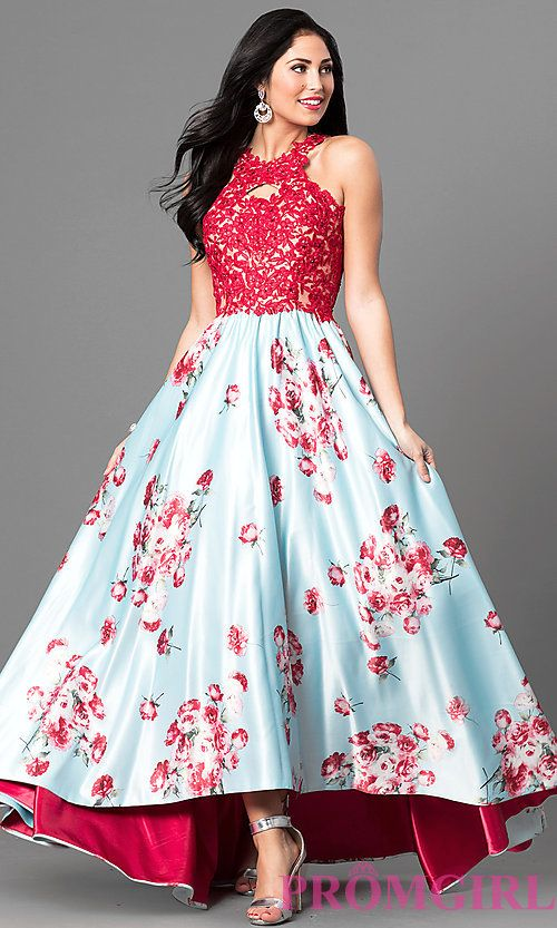 Image of floral print high-low prom dress with lace applique. Style: TE-6027 Front Image