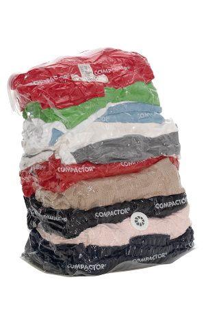 som sparer plass i garderobe og reisebag. Fyll bagen med tekstiler, forsegl og press ut luften for hånd (støvsuger kreves ikke). Av polyamid. H 52 cm. Ø 48 cm.