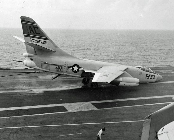 An A3D-2 from VAH-9 suffers a nose wheel collapse while landing on