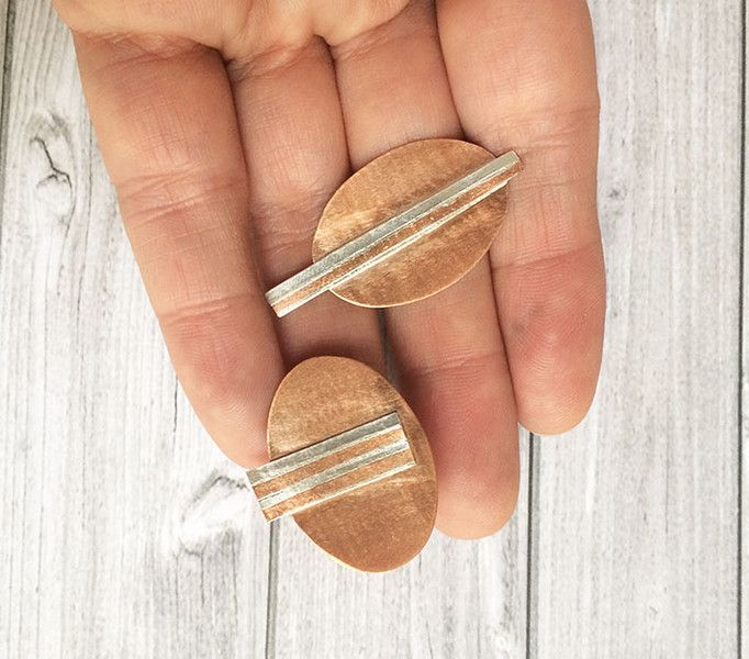 Silver Earrings – Asymmetric stud silver and copper earrings - oval  – a unique product by Carla-Amaro on DaWanda