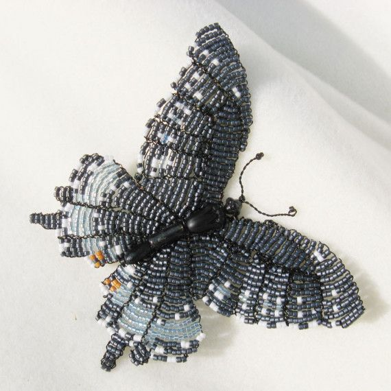 Reserved for Shelley Do not buy Beadwork OOAK Black Swallowtail Butterfly Brooch