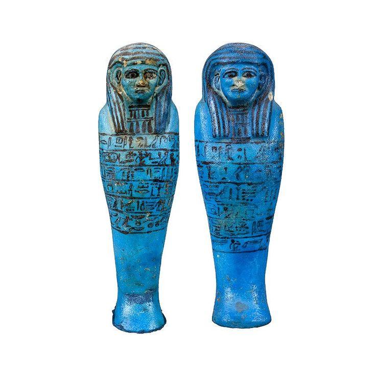 Egyptian Museum - Two Faience Shawabties  FAIENCE & GLAZE   Height (cm) : 21