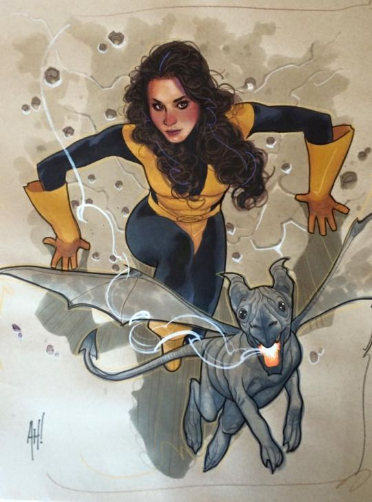 Kitty Pryde and Lockheed by Adam Hughes *