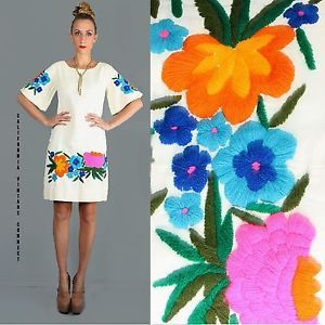 vtg+50s+60s+Mexican+Artisan+Embroidery+hippy+Mad+Men+Mod+shift+festival+Dress+L