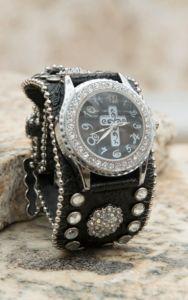 Blazin Roxx® Women's Black with Crystals & Cross Face Cuff Watch   Cavender's