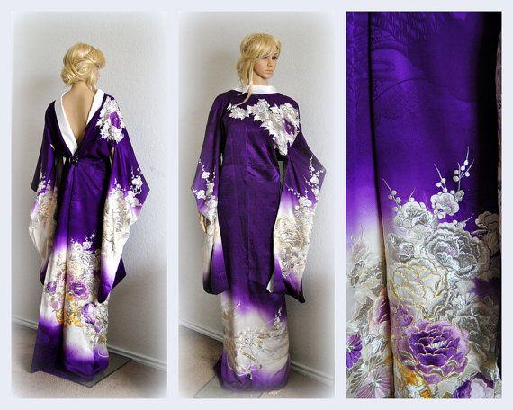 Royal Wedding Kimono Japanese Robe Silk Authentic by EventOutlet