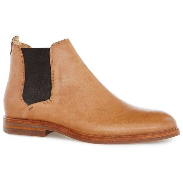 TOPMAN Hudson Tan Leather 'Tonti' Chelsea Boots (2,890 MXN) ❤ liked on Polyvore featuring men's fashion, men's shoes, men's boots, brown, mens brown chelsea boots, mens brown leather shoes, mens leather shoes, mens leather chelsea boots and mens tan chelsea boots