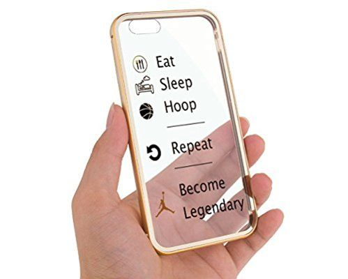 "Apple iPhone 6 4.7"" Champagne Gold Eat Sleep Basketball Hoop Baller Quote Aluminum Bumper Cases for Girls Teens Cover Skin Mobile Phone Accessory"