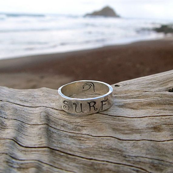 Surf Ring, Sterling Silver, Hand Stamped Jewelry, Surfer, Wave, Thick 5mm, Unisex, Mens, Hawaii, Hammered, Handmade, Gift for Her on Etsy, $35.00