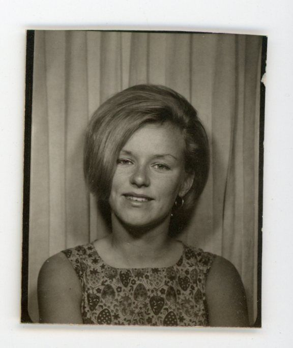 60's gal with long bangs an print dress Vintage photo booth photobooth
