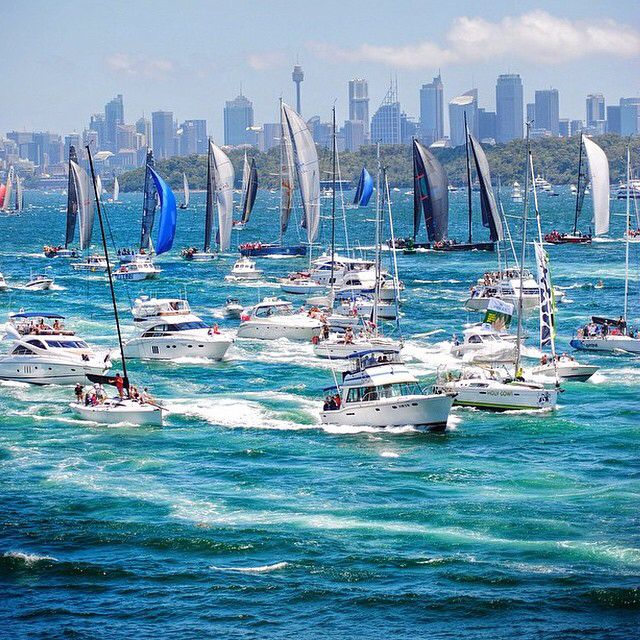 The annual #sydneytohobart Yacht Race kicked off in Sydney yesterday. Starting on Boxing Day each year, it's an Australian summer tradition to watch the famous race, which finishes in Hobart, @tasmania, around 1,170 kilometres away. Photo: @enursvendsen