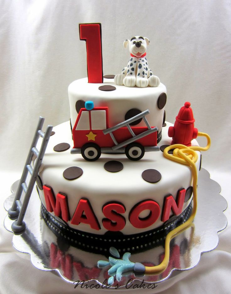 two tier fire truck cake - Google Search