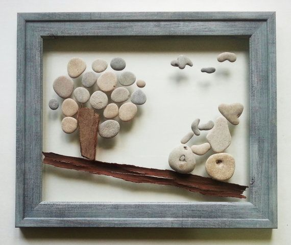 Pebble art Pebble picture Unique family gift от AyalaMor на Etsy