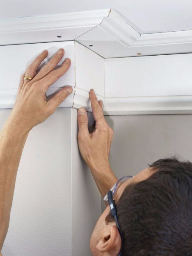 Home Improvement Hacks. - Install Crown Molding the Easy Way - Remodeling Ideas and DIY Home Improvement Made Easy With the Clever, Easy Renovation Ideas. Kitchen, Bathroom, Garage. Walls, Floors, Baseboards,Tile, Ceilings, Wood and Trim. http://diyjoy.com/home-improvement-hacks