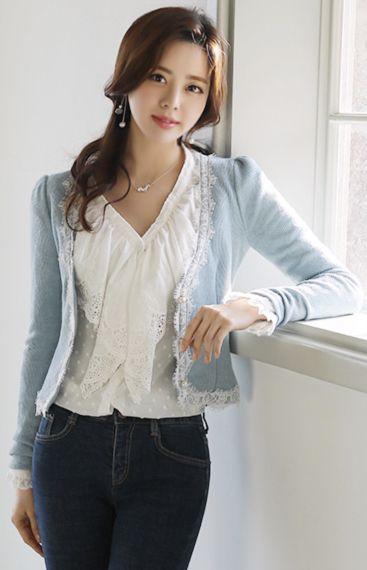 StyleOnme_Pearl Button Lace Trim V-Neck Cardigan #skyblue #lace #pearl #feminine #cardigan #koreanfashion #kstyle #kfashion #dailylook #springtrend #korea