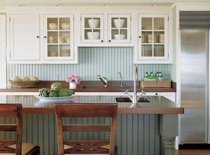A current cottage kitchen complete with blue beadboard