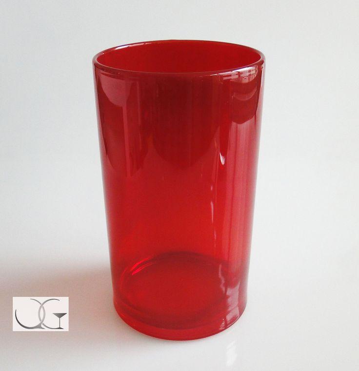 Wazon szklany Czerwone Noce h-25 czerwony przezroczysty na kwiaty, świecznik