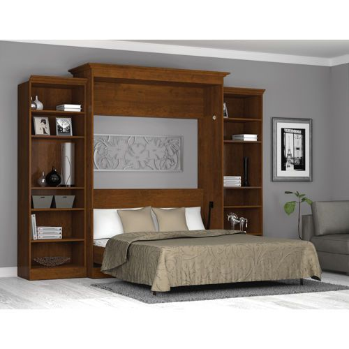 King bed wall unit bestar queen wall bed with two 25 for Headboard storage unit