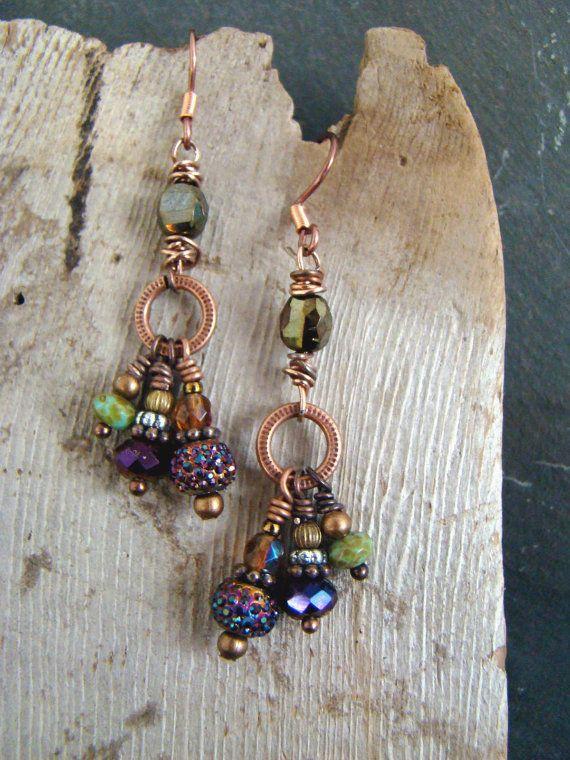 Very Cool Boho Chandelier Dangle Earrings Purple by Sewartzee, $15.00