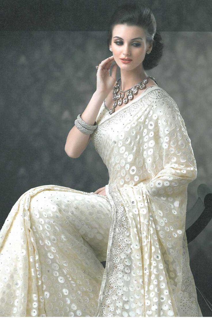 Soma Sengupta Indian Bridal- Sparkling White Sari!