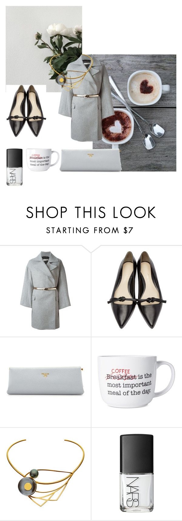 """""""roxaraione loves grey composition"""" by roxariaone ❤ liked on Polyvore featuring Golden Goose, 3.1 Phillip Lim, Prada, Pfaltzgraff, LeiVanKash, NARS Cosmetics and grey"""