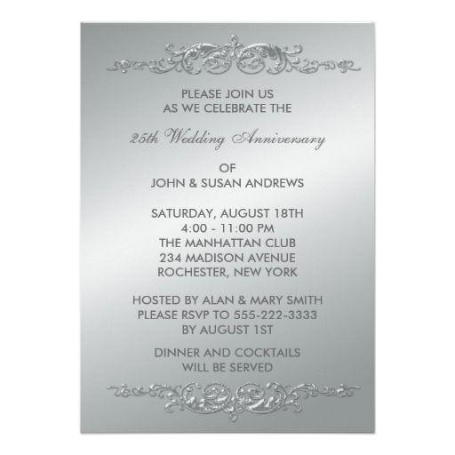 21 best 25th wedding anniversary invitations images on pinterest silver swirls 25th wedding anniversary invitation filmwisefo