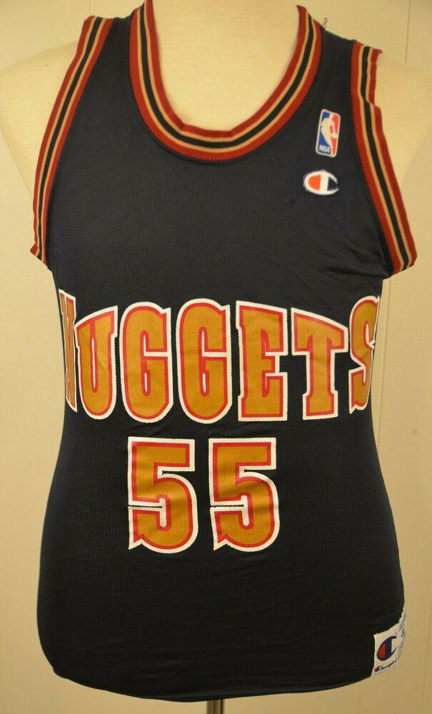 buy online 25156 80e10 Champion Denver Nuggets Jersey #55 Dikembe Mutombo NBA Size ...