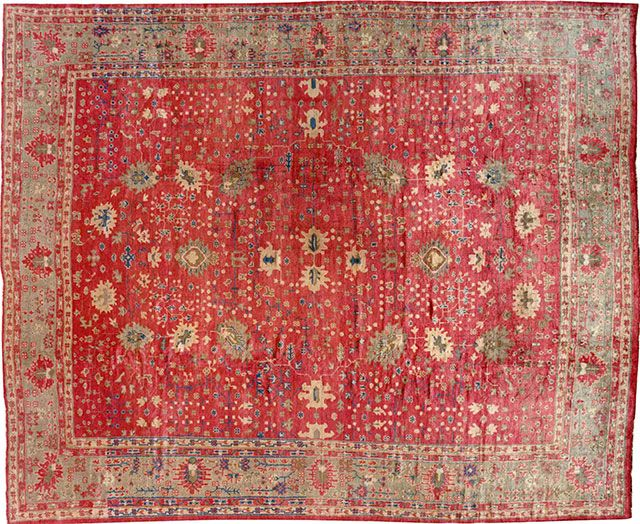 "Oushak & Turkish 14' 1"" x 11' 6"" Antique Oushak at Persian Gallery New York - Antique Decorative Carpets & Period Tapestries"