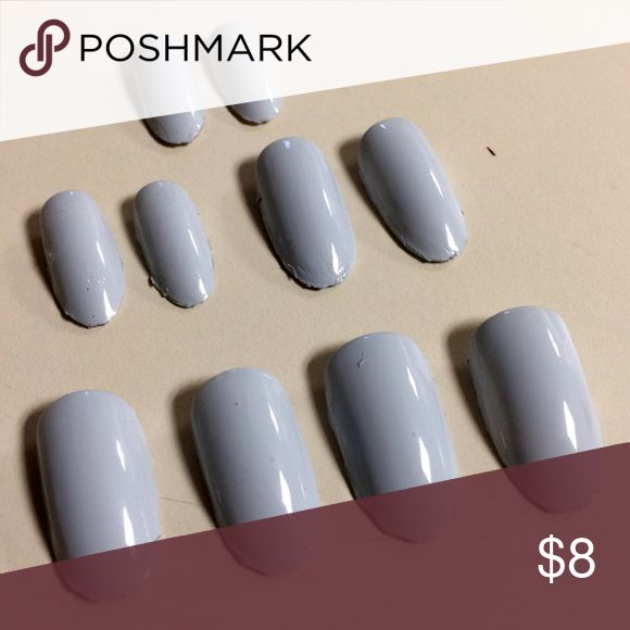 🆕Light gray acrylic nail set oval 10 pieces made by me Makeup