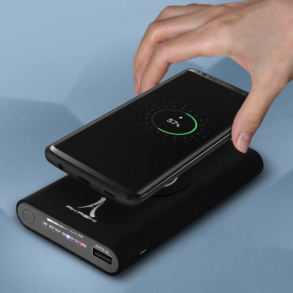 Powerbank 10000 Mah Charge Induction 2x Ports Usb Akashi Noir Chargeur Sans Fil Qi Batterie Externe Iphone Batterie Externe Batterie Telephone