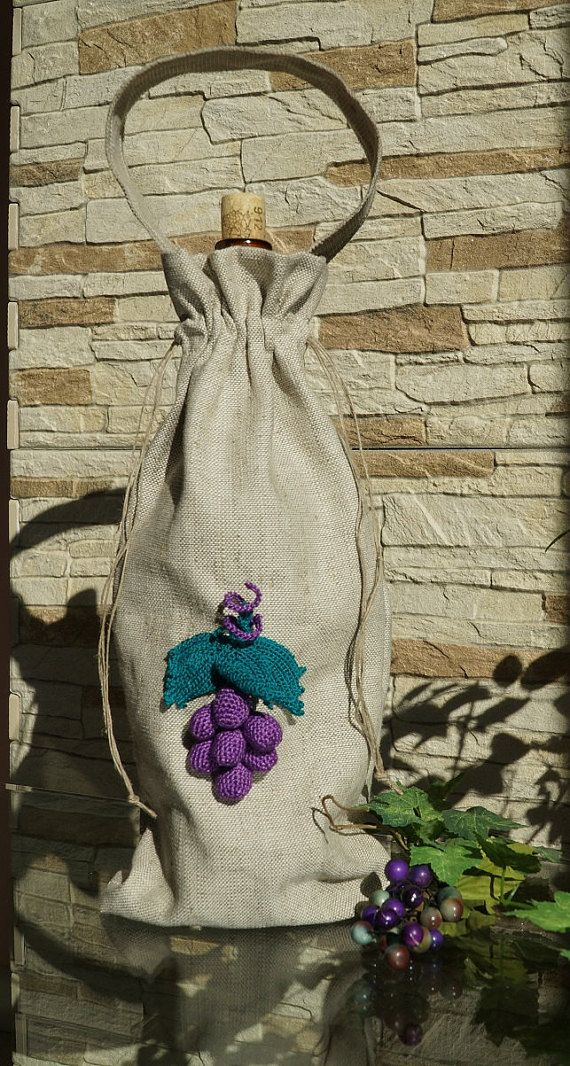 Linen Wine Tote with handmade crochet grapes  by shopausrele