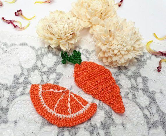2 orange crochet appliques crochet carrot crochet by Rocreanique on Etsy