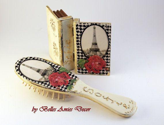 Girls gift set Paris small wooden jewelry box by BellesAmiesDecor