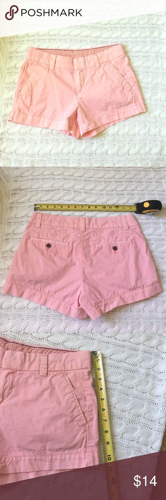 Uniqlo light pink preppy trouser shorts size 4 100% cotton Uniqlo micro trouser shorts size 4 with navy polka dot waist band trim. Only worn once and laundered. Super soft and well made. Fits more like a size 2/4 Uniqlo Shorts
