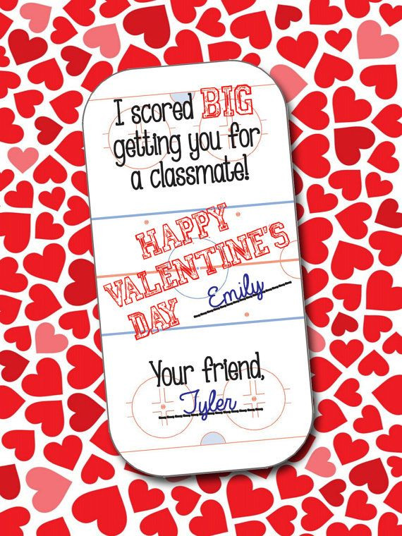 Hockey Valentines School Valentines DIY by 4BeesDesign